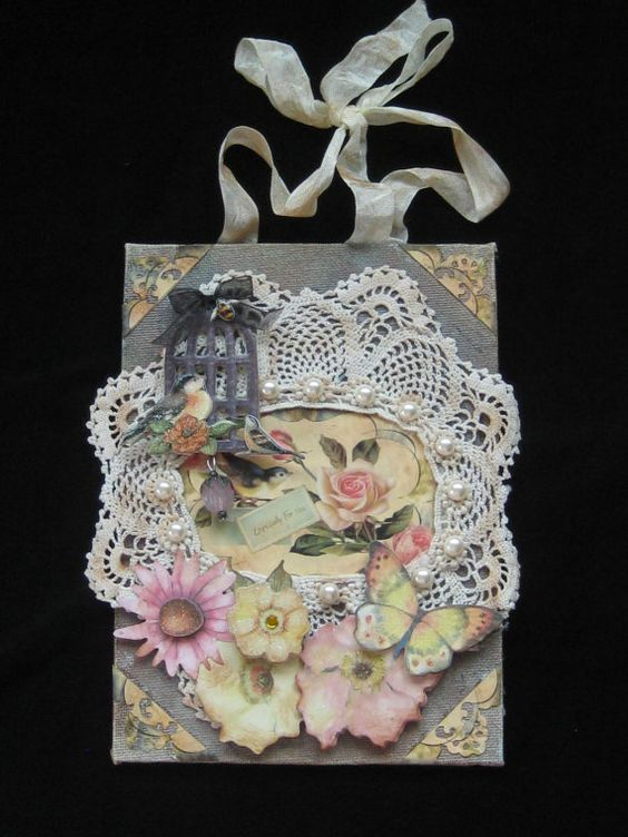 Small Mixed Media Collage  Shabby Chic  Antique by KISoriginals, $29.99