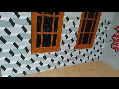 Cara Mengecat Tembok 3d Motif Balok 3d Wall Paint Youtube Mural Lukisan Gambar Dinding