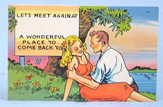Vintage Old New Stock Comic Postcard -- Pretty Couple Lounging on the Shore