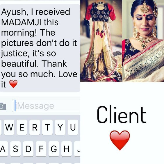 Client  It don't matter what I say! Hear it from the Clients mouth . Thank you! For purchases email me at  designerayushkejriwal@hotmail.com or what's app me on 00447840384707  We ship WORLDWIDE. #sarees#saris#indianclothes#womenwear #anarkalis #lengha #ethnicwear #fashion #ayushkejriwal#Bollywood #vogue #indiandesigners #handmade #britishasianfashion #instalove #desibride #bollywoodfashion #aashniandco #perniaspopupshop #style #indianbeauty #classy #instafashion #lakmefashionweek…
