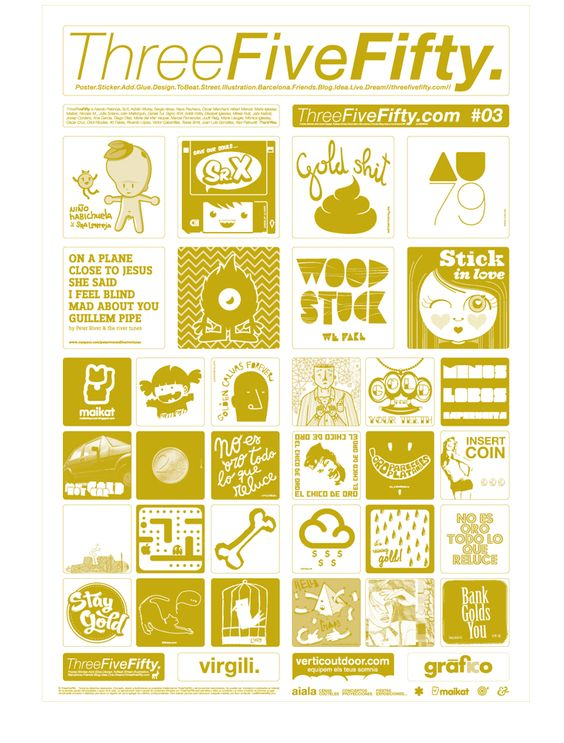 ThreeFiveFifty #03 #gold #stickers #design #art #ilustration #barcelona Primera incursión en Threefivefifty
