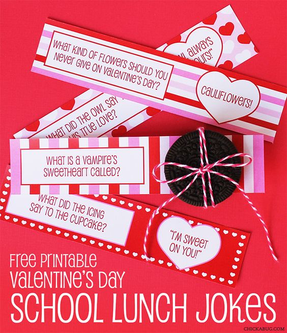 FREE printable Valentine's Day school lunch jokes from Chickabug!: Lunch Box Jokes, School Lunch, Valentine Freeprintable, Lunchbox Jokes, Freeprintable Valentinesday, Valentine Joke, Free Printable, Lunch Note, Lunch Joke