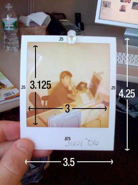 Exceptionnel Polaroid Dimensions   Chip O'Toole: Outside: 4.25 in x 3.5 in  EH52