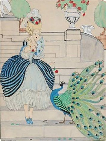 Young girl in rococo dress frightened by a peacock by Gerda Wegener 1918