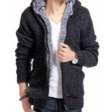 Homens jaqueta de veludo grosso algodão com capuz de pele Jacket Mens inverno acolchoado malha casaco Cardigan camisola ocasional primavera ao ar livre Parka(China (Mainland))