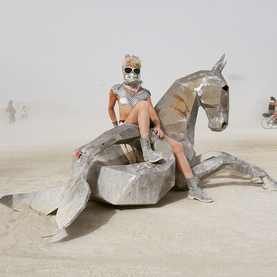 You never know what you might stumble upon in a sandstorm. Merhorse @ Burning Man 2015. Featuring the Menthu Scale Chest Piece by SeraphimSin.Etsy.com
