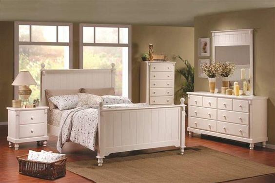 Pottery Old World White Wood Master Bedroom Set Bedrooms