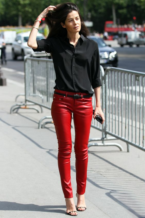 The perfect red leather pants (Barbara Martelo via You Just Got Spotted)   Fly Girl   Pinterest ...