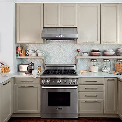 Taupe cabinets horizontal hardware even on cabinet doors for Hardwick white kitchen cabinets