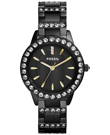 Fossil Women's Jesse Crystal Accent Black Ion-Plated Stainless Steel Bracelet Watch 34mm ES3649 - Women's Watches - Jewelry & Watches - Macy's