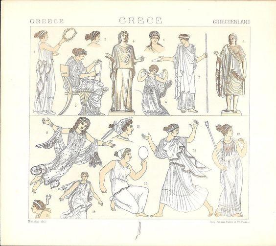 Costumes des femmes grece grec gravure ancienne racinet 1888 ebay bma gr ce pinterest - Deguisement grece antique ...