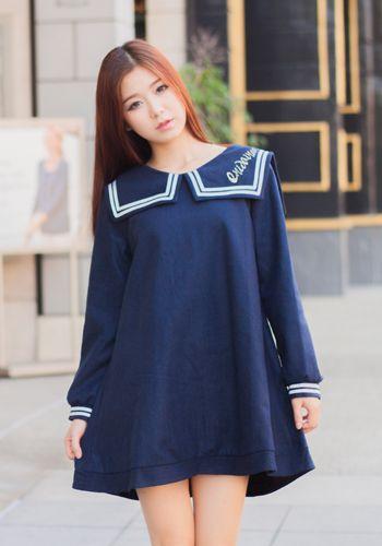 Japanese Style Fashion Navy Sailor Uniform Dress