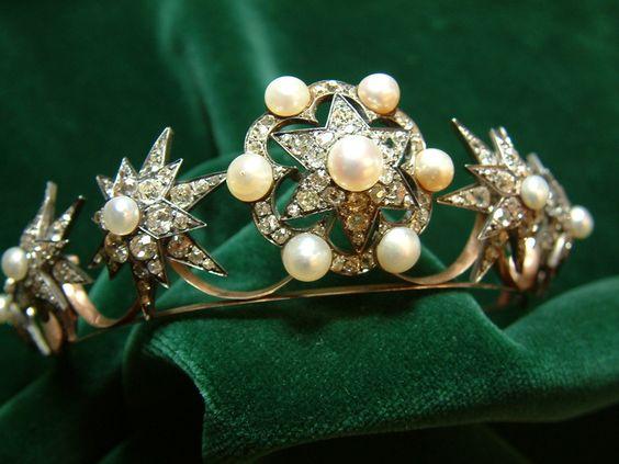 A more ornate diamond and pearl star tiara