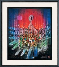 """""""Namoani"""" (1998) - Limitierte Manugrafie von Reinhard Brandner: Original-Manugrafie 1998 mit Blattsilber- und… #Malerei_Drucke"""
