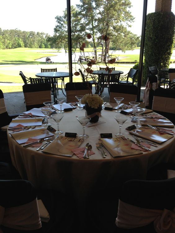 Wedding Reception in the Lakeview Ballroom at Kingwood Country Club overlooking the Island Course. #Weddings