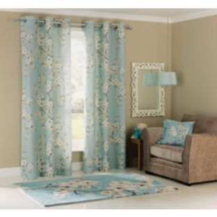 Buy Inspire Blossom Ring Top Curtains - 117x183cm - Duck Egg at ...