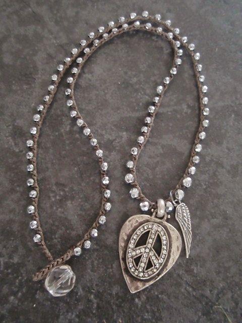 Silver Crochet necklace 'Peace Love & Rock n Roll' by slashKnots