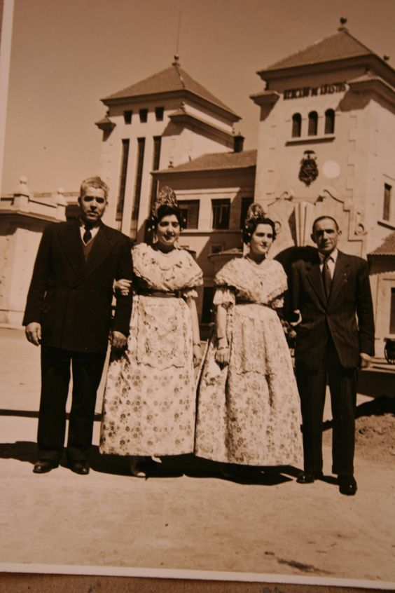 MY GRANDFATHER, MY MOTHER IN VALENCIA WITH TRADITIONAL COSTUME FALLERA