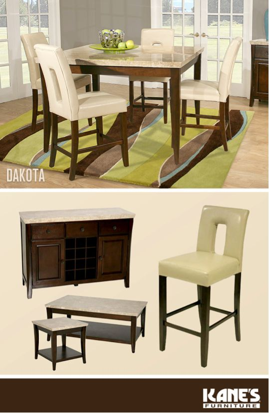 Dakota 5pc dining cool bars chairs and dining rooms for Dining room sets with matching bar stools