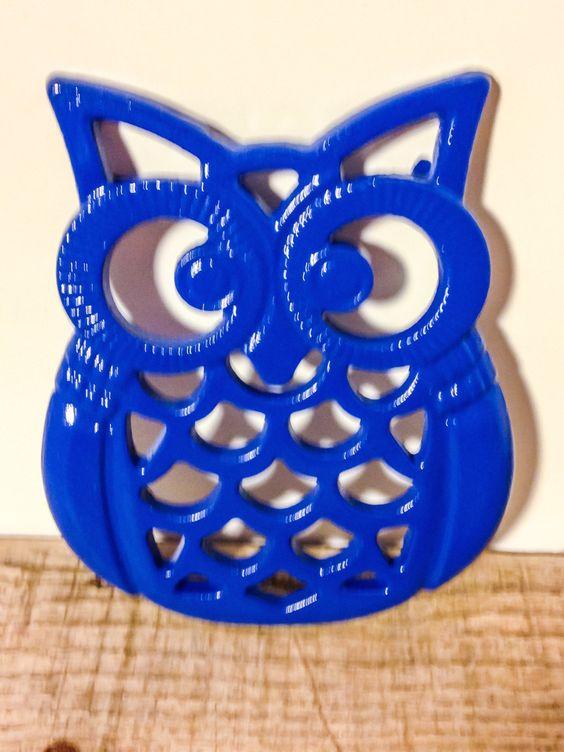 Blue Owl Trivet   Owl Wall Decor   Blue Hot Plate   Cast Iron Trivet   Blue  Kitchen Decor   Owl Trivet   Owl Decor   Kitchen Accessories USD) By ...