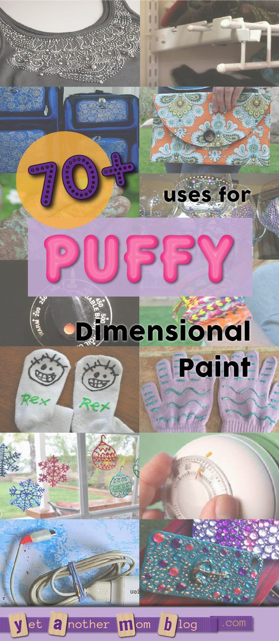 70+ uses for Puffy Paint (aka Dimensional Fabric Paint). It's not just for decorating T-shirts! Use for home decor items, jewelry, accessories, holiday decorations, non-skid and non-scratch applications, solutions for visually impaired and more!