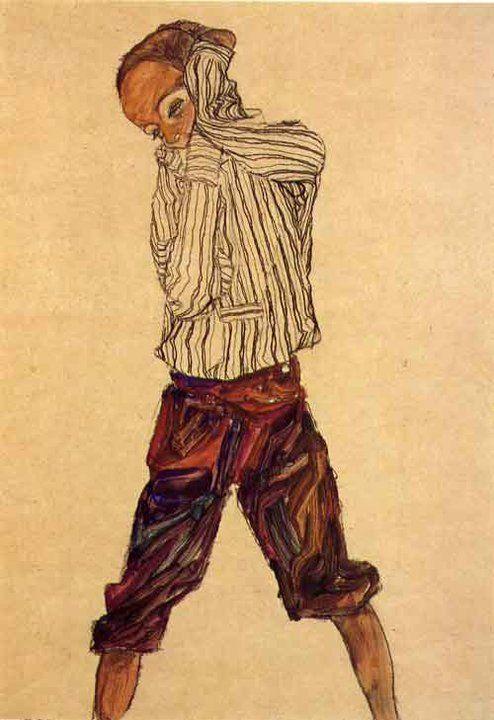 Standing boy with striped shirt, 1910 by Egon Schiele (Austrian 1890-1918)