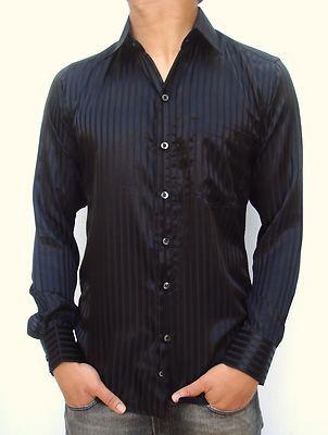NEW MENS SLIM CASUAL FIT DRESS SHIRT SILKY BLACK STRIPE sizes S,M,L