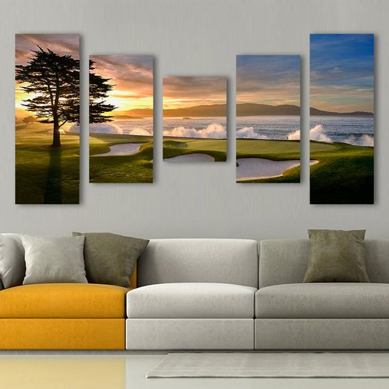 Gorgeous Sunset on Pebble Beach Golf Course Canvas Painting
