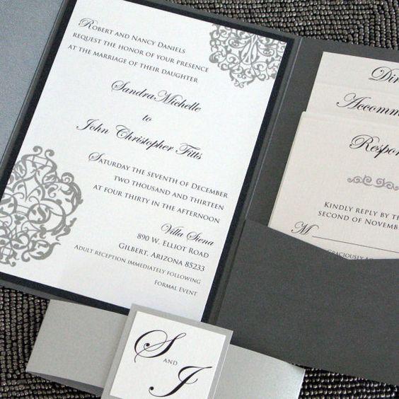Metallic Pocketfold Wedding Invitation - Black and SIlver Elegant