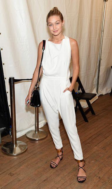 Gigi Hadid white jumpsuit