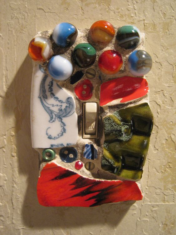 Mosaic Single Switch Plate Switchplate in Blue, Red and Green with Marbles mosaic art