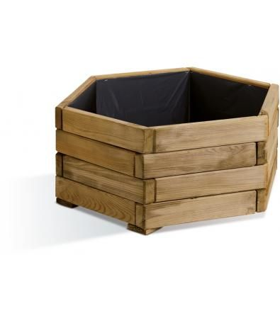 Wayford Natural Hexagonal Planter (32 litres) - A planter of simplistic and practical design, the Wayford 32 litre planter is a hexagonal 'classic shapped' planter that is a very useable size for gardeners wanting a container for displays of plants such as Geraniums, small Dahlias and Fuchsias. (H:250mm W:600mm D:600mm)
