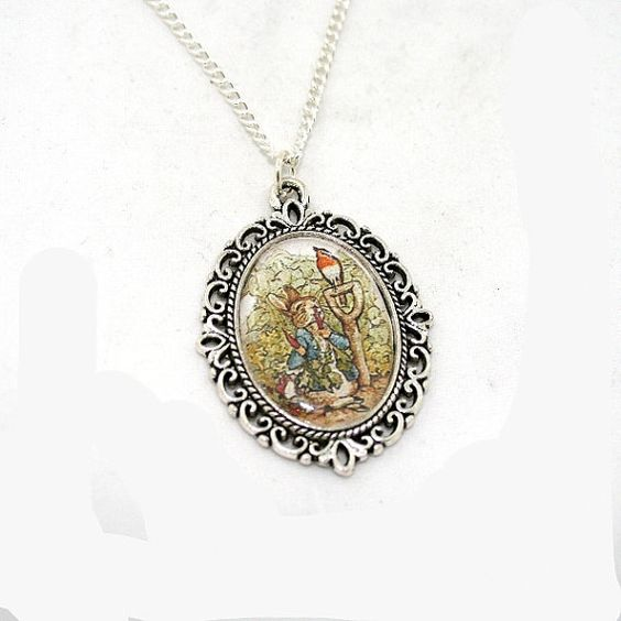 SALE Beatrix Potter Peter Rabbit Cameo Necklace by LaurasJewellery on Etsy, £6.00