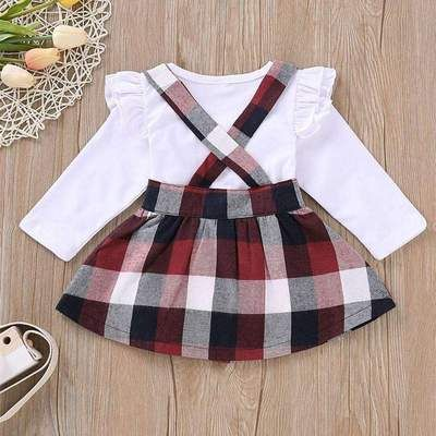 Infant Baby Toddler Girl Dress Set Solid Overalls Skirt+Tops+Headband Outfit