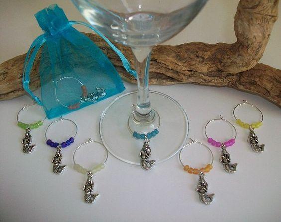 Beach Theme Mermaid Wine Glass Charms, Bridesmaid Bridal Shower Gift, Beach Party Wedding Favors, Wine Ocean Lovers Gift, Glass Indicator by SeashellBeachDesigns on Etsy