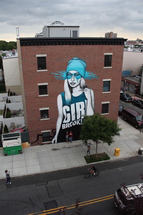 "Fin Dac - Street Art - ""B-Girl"" - Brooklyn, New York City"