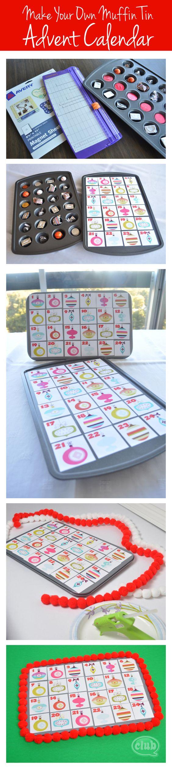 Adventskalender aus einer 24er Mini-Muffinform, gefüllt mit kleinen Überraschungen! Was für eine tolle Idee!!