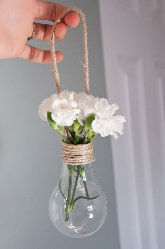 Set of 8 Hanging Light Bulb Vase Decorations - Wrapped in natural jute for outside weddings: