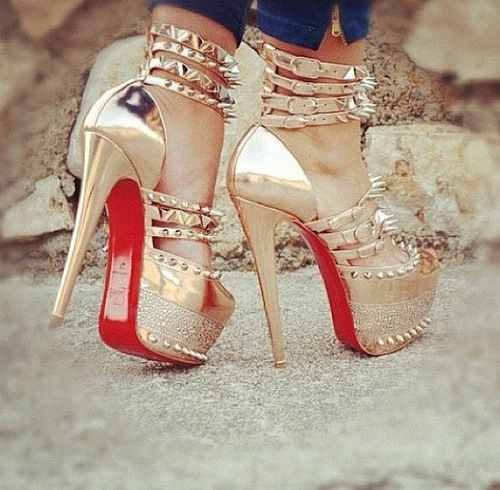 Gold spiked heels. Red bottoms | Shoes | Pinterest | Red bottoms ...