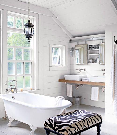 white bathroom, simple industrial sinks: 46 Bathroom Interior Designs Made In Rustic Barns