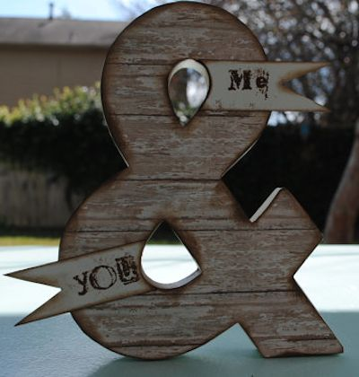 distressed wood ampersand