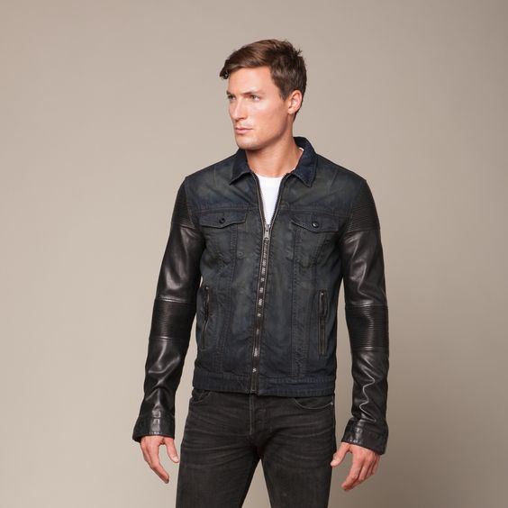 Denim Jacket + Leather Sleeves (S)