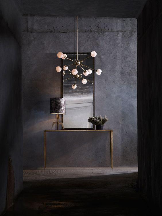 Orbit 1 Ceiling Light, Trevose Mirror, Rocket Table Lamp, Large Salvatore Console Table   Porta Romana