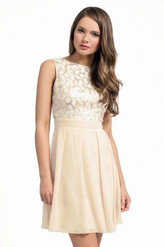 Cream And Gold Sequin Embellished Fit & Flare Dress