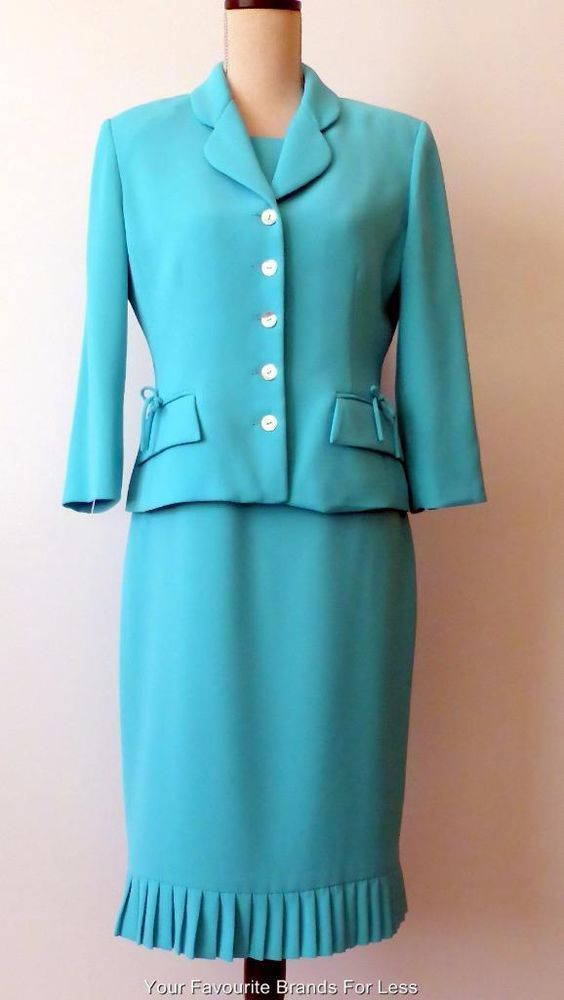 Anthea Crawford  Aqua Dress and Jacket Set Size 10 Fully Lined Made In Australia