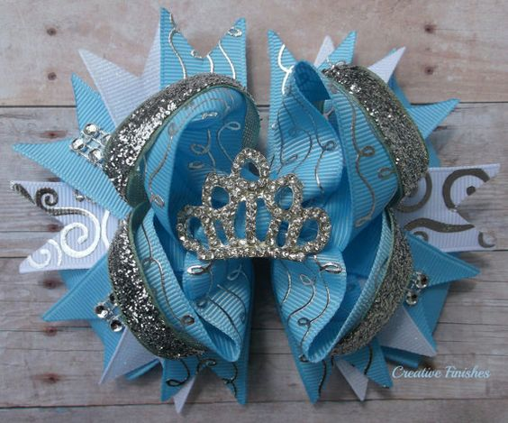 Cinderella Tiara Bow Princess Blue Silver by CreativeFinishesBows