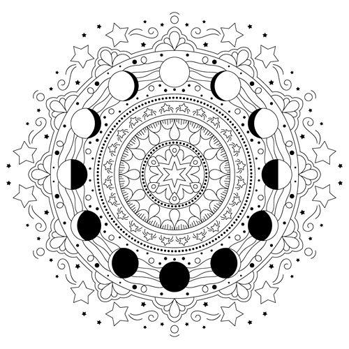 Swirly Dots Mandala M71 Color A Mandala Moon Coloring Pages Mandala Coloring Pages Free Printable Coloring Pages