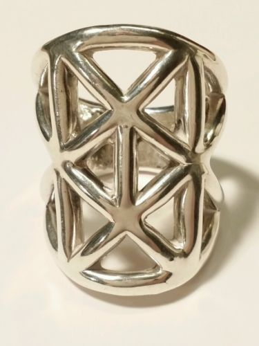 Super Wide Open Sculpture EampL Electroform 925 Sterling Silver 1 14 Ring Size 6 Products