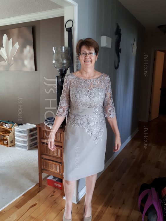 Tubo Decote redondo Coquetel Tecido de seda Renda Vestido para a mãe da noiva com Pregueado Beading (008102677) - Vestidos para a mãe da noiva - JJ's House