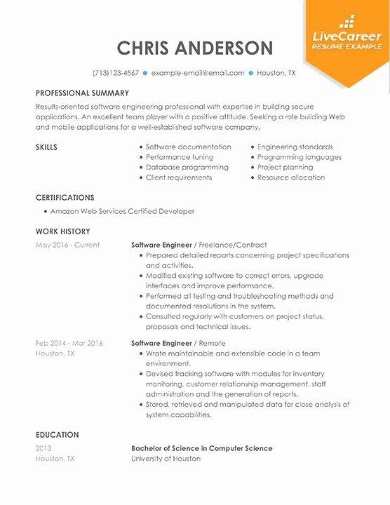Computer Engineer Resume Objective Best Of Best Software Engineer Resume Example Livecareer In 2020 In 2021 Resume Examples Engineering Resume Resume Software